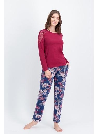 Arnetta Arnetta Carnation Lace Bordo Kadın Pijama Takımı Kırmızı